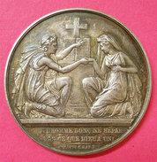 12 Juin 1876 Medaille Mariage Bénédiction Nuptiale Argent Monogramme  Diametre 4cms 25gr Poinçon - Other