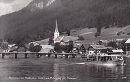"""Techendorf Am Weißensee, Brücke Mit Motorschiff """"St. Hubertus"""" (2386) * 1960 - Weissensee"""