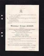 SAINT-GILLES UCCLE Architecte Ernest ACKER 1852-1912 Saint-Gilles Académie Des Beaux-Arts De Bruxelles - Décès