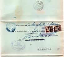 1946  LETTERA CON ANNULLO MARGHERITA DI SAVOIA  FOGGIA +  ADELFIA BARI - 6. 1946-.. Repubblica