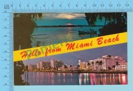 Hello From Miami Beach , Multi-vue, Scenic Waterway & Twinkling Fantasyland - 2 Scans - Souvenir De...