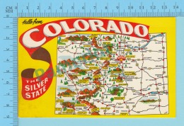 Maps, Cartes Géographiques - USA Hello From Colorada The Silver State, Map  - 2 Scans - Cartes Géographiques