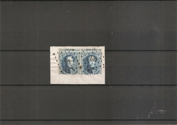 Belgique ( 15A En Paire Oblitérée -Oblitération LP60-Curiosité: Piquage à Cheval à Voir) - 1863-1864 Medaillen (13/16)