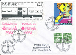 Denmark Cover With Stamp And ATM Frama Label Glostrup 12-1-1991 Glostrup Frimerkeklub 50 Aar - Danimarca