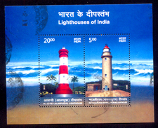 India, Used, 2012, Miniature Sheet, Lighthouses, Lighthouse Of Mahaballipuram, Allephey, Kerala, Architecture, Tamilnadu - Phares