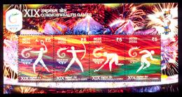 India, Used, 2010, Miniature Sheet, XIX Commonwealth Games, Archery, Hockey, Badminton, Athletics, Sports, Games. - Inde
