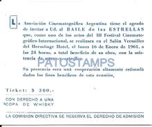 70294 ARGENTINA MAR DEL PLATA HERMITAGE HOTEL AÑO 1961 INVITACION TICKET NO POSTAL TYPE POSTCARD - Eintrittskarten