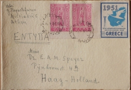 Greece, 1951 Mai, 700 Dr Pair Dodecanese Union On Printed Matter Franking As Letter From Athens To Netherlands - Grecia
