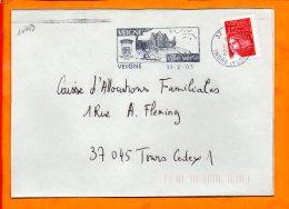 INDRE ET LOIRE, Veigné, Flamme SCOTEM N° 10443, Ville Verte - Postmark Collection (Covers)