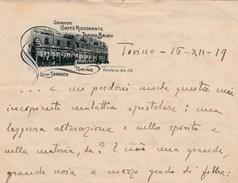 6361. Lp    Lettera Da Torino 16. XII. 1919 Su Carta Del  Grande Caffè Ristorante Teatro Balbo Da Caprioglio Casale - Vecchi Documenti