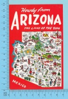 Maps, Cartes Géographiques - Howdy From Arizona The Land Of The Sun, Indicative Map  -  2 Scans - Cartes Géographiques