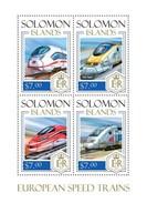 SOLOMON ISLANDS 2014 SHEET EUROPEAN SPEED TRAINS TRENES DE ALTA VELOCIDAD TRAINS GRANDE VITESSE Slm14106a - Isole Salomone (1978-...)