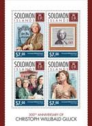 SOLOMON ISLANDS 2014 SHEET CHRISTOPH GLUCK COMPOSERS COMPOSITEURS KOMPONISTEN COMPOSITORES Slm14303a - Salomon (Iles 1978-...)