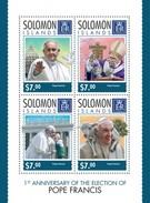 SOLOMON ISLANDS 2014 SHEET POPE FRANCIS PAPE FRANÇOIS PAPA FRANCISCO PAPES POPES PAPAS Slm14313a - Salomon (Iles 1978-...)