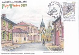 Carte Locale Fête Du Timbre 2017 Maisons En Champagene (51) Dessin De R.Irolla. - Unclassified