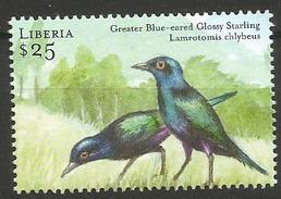 Liberia 2001 - MNH - Family STARLINGS : Greater Blue-eared Starling (Lamprotornis Chalybaes - Uccelli Canterini Ed Arboricoli