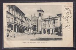 CPA ITALIE - MONCALIERI - Piazza Vitt. Emanuele E. Chiesa Collegiata - TB PLAN PLACE CENTRE VILLE ANIMATION 1902 - Moncalieri