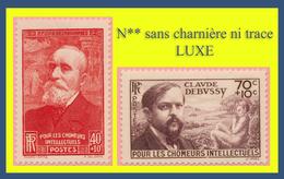 N° 436 - 437 CHÔMEURS INTELLECTUELS 1939 - PUVIS DE CHAVANNES DEBUSSY - N** SANS TRACE DE CHARNIÈRE - - France