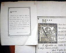 51 REIMS AFFICHE PLACARD MORTUAIRE JEAN MARTIN ROBERT  BONNEVAL FOURRIER DE LA GRANDE ECURIE DU ROI 1782 + ANNIVERSAIRE