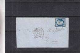 France - Lettre De 1855 - 4 Marges + 1 Voisin - Oblit La Villette - Exp Vers Sery - Cachet De Paris Et Crepy En Valois - 1853-1860 Napoléon III.