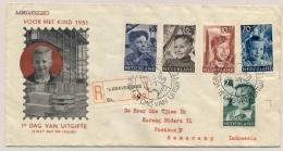 """Nederland - 1951 - Kind 1951 Op R-FDC """"Geschenkzending / Rechten-vrij""""? Naar Semarang / Indonesia - FDC"""