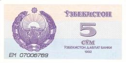 OUZBEKISTAN   5 Sum   1992 (1993)   P. 63a   UNC - Uzbekistan