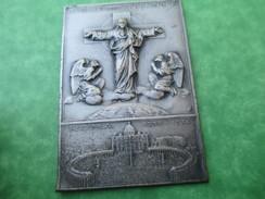 Médaille Religieuse/Plaque Emboutie Métal Argenté/Christ Et Anges / Giubileo Della Redenzione/ROME/1933-1934   CAN262 - Religione & Esoterismo