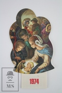 1974 Christmas Greetings/ Jesus Nativity Birth Scene Die Cut Calendar - Calendarios
