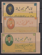 PAKISTAN QUAID-E-AZAM MEMORIAL FUND 5, 10 & 100 RUPEES CINDRELLA - Pakistan