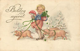 Pigs, Girl Walking With Three Little Pigs And A Mushroom, Old Postcard - Pigs