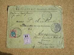 Pays-Bas Enveloppe Recommandée Pour Auxerre Affranchissement Composé Oblitération Maastricht 1905 - Periode 1891-1948 (Wilhelmina)