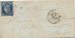 1851 Cérès N° 4 25 C Bleu Foncé Sur Lettre Signée Calves TB. - Postmark Collection (Covers)