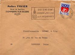 FRANCE -  MOULINS 1967 - DIG ! DIN ! DON ! SONNENT LES 4 JACQUEMARTS - TIMBRO DATARIO CAPOVOLTO !!!!!!!!!!!!!!!!!!!!!!!! - Curiosidades: 1960-69 Cartas