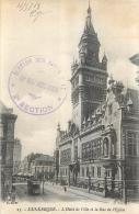RARE CARTE DUNKERQUE AVEC CACHET 18em  REGIMENT ARTILLERIE ECHELON SUR ROUTE N°17  2em SECTION 1918 - Marcophilie (Lettres)