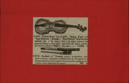 MUSIQUE - INSTRUMENTS DE MUSIQUE - Publicités Issues D'une Revue De 1928 Collées Sur Petit Carton Recto-verso - Violon - Publicités