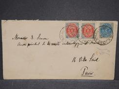 DANEMARK - Enveloppe Pour Paris En 1891 , Affranchissement Plaisant - L 6982 - 1864-04 (Christian IX)