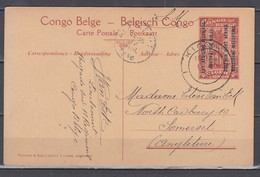 Belgisch Kongo, Besetzung Dt.Ostafrika Bildpostkarte Mit Aufdruck Ascher P 8 O Kigoma 1918 Nach England - WW I