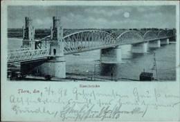 ! Alte Mondschein Ansichtskarte Eisenbrücke Thorn, 1898 - Polen