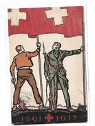 Suisse Carte Fête Nationale 1917 Entier W Tell Style 130 + YT 130 Ouvrier Soldat Drapeau Suisse Médaillon H Dunant - Interi Postali