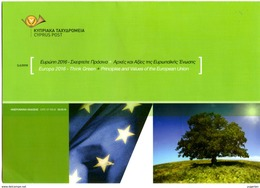 """CHYPRE CYPRUS 2016 Notice Europa """" Ecology In Europe - Think Green """" Folder Ordner Prospectus 2 Scans - Europa-CEPT"""