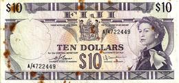 FIJI $10 PURPLE QEII HEAD FRONT & MOTIF BACK NOT DATED (1974)P.74c SIGNATURE BARNS-TOMKINS #A AF READ DESCRIPTION!! - Fidji