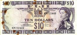 FIJI $10 PURPLE QEII HEAD FRONT & MOTIF BACK NOT DATED (1974)P.74c SIGNATURE BARNS-TOMKINS #A AF READ DESCRIPTION!! - Fiji