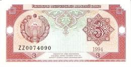 OUZBEKISTAN   3 Sum   1994   P. 74r (Remplacement Note   Serial #  ZZ)    UNC - Uzbekistan
