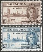 Bermuda. 1946 Victory. MH Complete Set. SG 123-4 - Bermuda