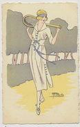 Serie De 5 CP Art Deco Signée Blache Femme Tenniswoman Set Of 5 Cards - Tennis