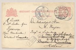 Nederlands Indië - 1919 - 5 Cent Cijfer, Briefkaart Lokale Druk G26a Van KBu BENKOELEN Naar Breda / Nederland - Nederlands-Indië