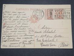 """ITALIE - Entier Postal De Turin Pour Paris En 1924 , Oblitération"""" Votate La Lista Nazionale """" - L 7023 - 1900-44 Vittorio Emanuele III"""
