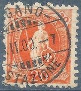 Stehende Helvetia 66D, 20 Rp.orange  LUGANO STAZIONE         1900 - Usati