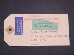 ETHIOPIE - Étiquette De Colis En Recommandé De Addis Ababa Pour Paris En 1971 - L 7026 - Ethiopie