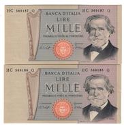 ITALIA 1000 Lire Verdi II° Tipo 1977 2 Esemplari Consecutivi Q.fds/fds  LOTTO 1706 - [ 2] 1946-… : Repubblica